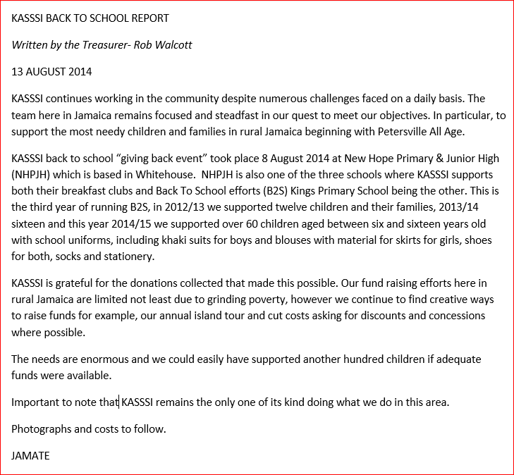 Treasurer's Back to School Report 2014.